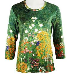 Breeke  Company Gustav Klimt  Flower Garden Cotton Micro Blend Top * Details can be found by clicking on the image.
