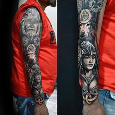 Norse Themed Male Odin Full Sleeve Tattoo