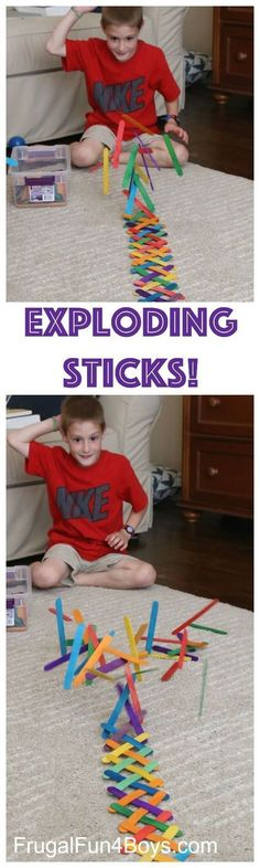 Fun Activity for Kids - Build a Chain Reaction with Popsicle or Craft Sticks!  This is a great boredom buster project! (Camping Hacks With Kids)