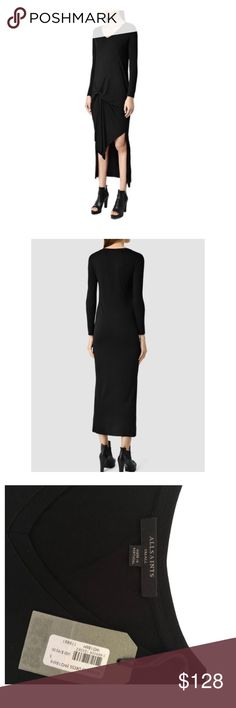AllSaints Women's Black Riviera Long Sleeve Dress The super-soft fabrication is woven with a touch of wool for a durable finish. Elegant draping gathers across the figure to a pin-tuck design at the side hip, creating natural movement and fluidity whilst the demure over-the-knee length and low back hem creates a contemporary finish.   Style yours with a pair of high heels for a sophisticated look. All Saints Dresses Long Sleeve