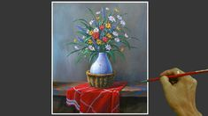 Acrylic Still Life Painting in Time-lapse / Flowers in Vase / JMLisondra Acrylic Painting Lessons, Acrylic Painting Tutorials, Painted Vases, Painting Still Life, Learn To Paint, Be Still, The Creator, Art Journaling, Flowers