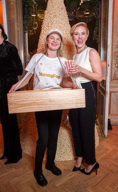 Scarlett Johansson from The Big Picture: Today's Hot Pics  Pop on over! The actress is all smiles as she attends the Yummy Pop Grand Opening Party in Paris France.