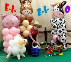 """Balloon Farm - with our little farmer """"Exclusive Balloons"""" Farm Party Decorations, Decorations With Balloons, County Fair Decorations, Farm Birthday, Farm Animal Birthday, Farm Animal Party, Cowgirl Birthday, Cowgirl Party, 3rd Birthday Parties"""