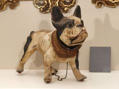 TALKING PAPIER MACHE FRENCH BULLDOG PULL TOY | From a unique collection of antique and modern toys at https://www.1stdibs.com/furniture/more-furniture-collectibles/toys/