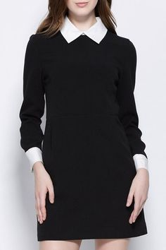 Stylish Flat Collar Long Sleeve Color Block Slimming Women's Dress