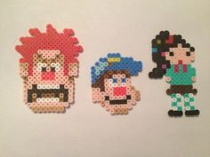 Wreck It Ralph, Vanellope, Fix it Felix Set, Perler Beads, Disney, Geekery, Magnet, Video Game on Etsy, $10.00