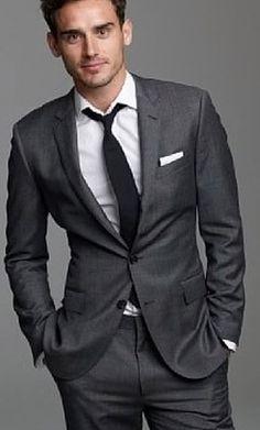 Hugo Boss Mens Charcoal Wool Suit.