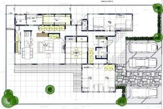 House architecture interior layout Ideas for 2019 Craftsman Floor Plans, House Floor Plans, Single Storey House Plans, Large Floor Plans, Tropical Style, Japanese House, House Layouts, Bathroom Renovations, Apartment Design
