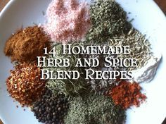 14 homemade herb and spice blend recipes including taco, fajita, ranch, italian, jerk, french onion, pumpkin pie, herbs de provence, etc
