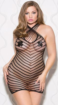 This sexy black chemise features a multi-strapped, criss-cross high neckline, a criss-cross back, and an opaque and fishnet chevron design. (Pasties not included.) Plus Size Between The Lines Chevron Chemise, Plus Size Black Chevron Chemise, Plus Size Black Striped Chemise