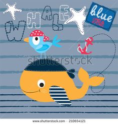 cute whale with bird striped background vector illustration - stock vector - Kids Z, Art For Kids, Clothing Themes, Cute Whales, Cartoon T Shirts, Striped Background, Children's Book Illustration, Baby Prints, Baby Wearing