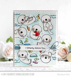 Handmade card from Yoonsun Hur featuring Birdie Brown Otterly Love You stamp set and Stitched Sentiment Strips Die-namics #mftstamps