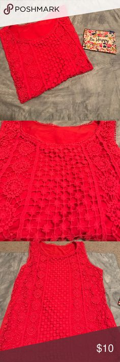 Red Lace Tank This red lace tank is perfect to make a statement! Worn once. Open to all reasonable offers. Tops Tank Tops