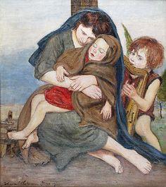 Wlastimil HOFMAN (1881-1970)  Macierzyństwo - Madonna z Dzieciątkiem i muzykującym aniołkiem, 1920 olej, płótno; 85,5 x 75 cm;