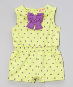 Take a look at this Isaac Mizrahi New York Lime & Lavender Polka Dot Bow Romper on zulily today!