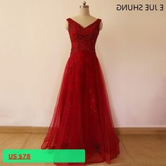 E JUE SHUNG Cheap Burgundy Evening Dresses Long V-neck A-line Beaded Prom Dresses Lace Up Formal Dresses Evening Gowns