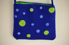 Blue Green Hand Felted Polk Dot Hip Bag by TwiceNicePurses on Etsy, $33.00
