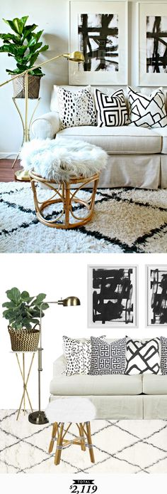 White and black living room full of texture for $2119 #RoomRedo by @audreycdyer for Copy Cat Chic