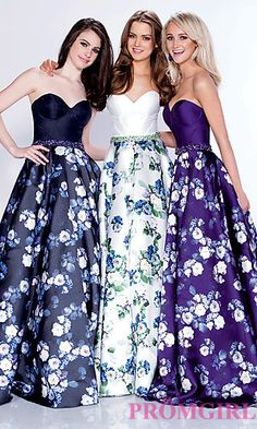 Long Print Strapless A-Line Formal Dress at PromGirl.com