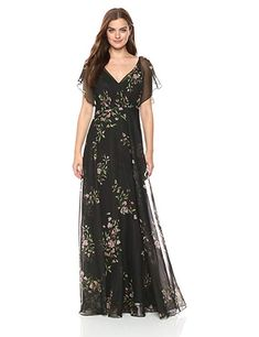 6e614907 Jenny Yoo Women's Cassie Flutter Sleeve Surplice Gown at Amazon Women's  Clothing store: Streetwear,