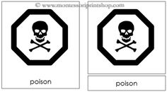 7. Safety Signs - Montessori 3-Part Classified Cards - Printable Montessori Learning Materials for home and school.