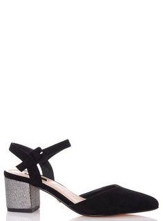 98b61a3343b32 Quiz Black Faux Suede Glitter Heel Court Shoes