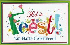 Feestelijke letterkaart het is feest