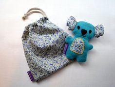 Doudou Koala turquoise et liberty / Peluche fait par FunkySunday, €20.00