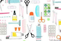 Amy van Luijk, simple, drawing, collage, beauty, illustration, colour, toiletries