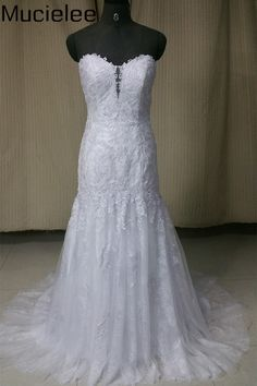 Mucielee Real Photo Cheap Sexy Wedding Dress Mermaid China Bridal Dress  Applique Lace Wedding Gown Robe bb98461664a9
