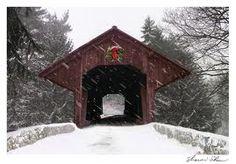 Covered bridge in the snow