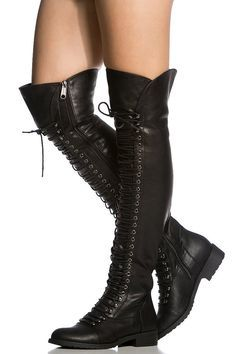 Over the Knee Lace Up Riding Faux Leather Thigh High Combat Boots