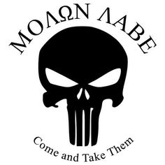 Vehicle Decal: Molon Labe with Punisher logo