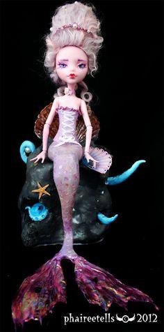 Monster high repaint Draculaura purple mermaid by phairee004