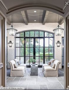 Doors and windows are crucial to the feel of a house but are quite often overlooked. When they're as fabulous as these steel doors they are extraordinary! House Plans, Decor, Home, House Styles, House Design, Ceiling Decor, New Homes, Interior Design, House Interior