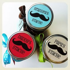 Fathers Day Gift: Daddys Stache Candy Jar | FREE printable. I would put everyone in a fake mustache and take a family photo with dad!
