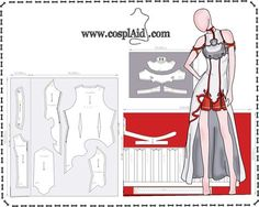 Cosplay Anime Costume Cutting instructions for Asuna Yuuki cosplay by Cosplaid - Asuna Cosplay, Cosplay Anime, Cosplay Diy, Cosplay Outfits, Halloween Cosplay, Anime Outfits, Doll Dress Patterns, Barbie Patterns, Costume Patterns