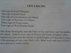 Recipe for Life :)