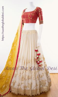 white lehenga choli Give yourself a versatile look by wearing this georgette lehenga choli featuring lucknowi work lehenga and hand work blouse Indian Fashion Dresses, Indian Gowns Dresses, Indian Bridal Outfits, Dress Indian Style, Indian Designer Outfits, Indian Wear, Wedding Outfits, Wedding Wear, Designer Bridal Lehenga