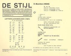 Exemplo da revista De Stijl, Letterklankbeelden, projeto gráfico de Theo van Doesburg. De Stijl foi uma publicação holandesa que mais tarde originaria o Neoplasticismo, que teve influência sobre o design, artes plásticas e poesia da época. De Stijl era geometria severa, abstração pura.