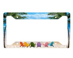 Beach Chairs License Plate Frame by Onestopairbrushshop on Etsy