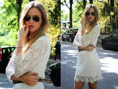 The always stylish Shoppisticated in our white lace dress. Read more here: http://shoppisticated.blogspot.de/2014/07/a-touch-of-summer.html #objectfashion