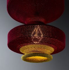 OMI lamps crocheted from textile scraps designed by Naomi Paul