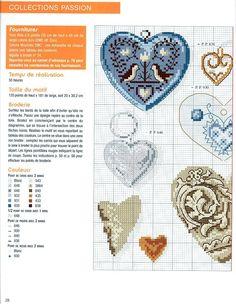 0 point de croix grille et couleurs de fils collection de coeurs 1