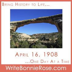 FREE Timeline Printable: April 16, 1908: Celebrate the anniversary of the establishment of the Utah Natural Bridges National Monument! Today's short story, through the eyes of a 4-year-old, reminds us how God has put so much beauty into the world and even given us our own Bridge to him by sending Jesus to be our Savior. - WriteBonnieRose.com Short Stories For Kids, History Timeline, Day And Time, Getting Things Done, Landscape Photography, Bridges, Utah, Scrapbook, God