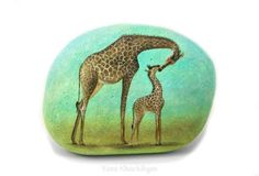 Mother-039-s-love-Original-oil-painting-on-a-stone-Free-shipping-worldwide