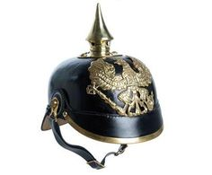 Pickelhaube . originally designed in 1842 by King Frederick William IV of Prussia, similar to helmets worn by Russian forces, possably imitated. the disighn and point meant for decoration and function, the purpose was to deflect lances or saber blows. The  Pickelhaube was made of hardened leather, in 1915 the helmet was made of thin metal and by 1916 replaced by the Stahlhelm.