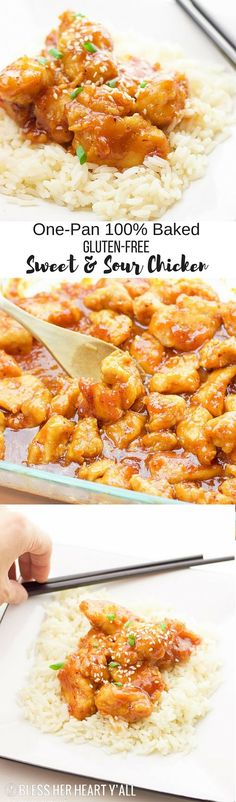 This one-pan baked gluten-free sweet and sour chicken recipe is 100% gluten-free and not fried in a frying pan for even a second.  Tender pieces of chicken are lightly breaded in a homemade spiced coating and then drizzled in coconut oil and a sweet and t