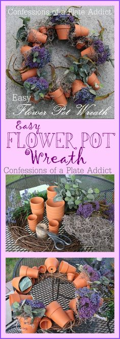 Easy Flower Pot Wreath DIY