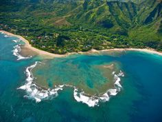 Tunnels Beach on the North Shore a good spot to snorkle with sea turtles #Kauai